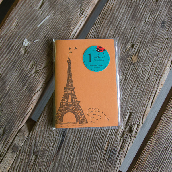 Eiffel Tower Notebook, hand drawn and staple bound, letterpress printed eco friendly