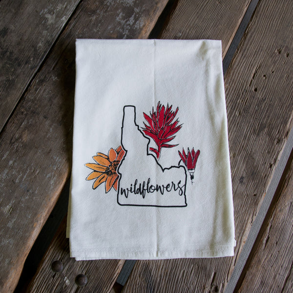 Idaho Wildflowers Screen Printed Tea Towel, flour sack towel