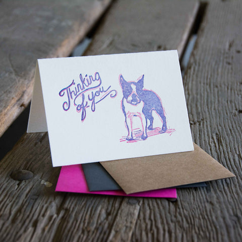 Thinking of you sketch dog card, letterpress printed