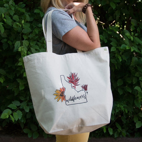 Idaho Wildflowers Screen Printed Tote Bag, Large heavy duty canvas bag
