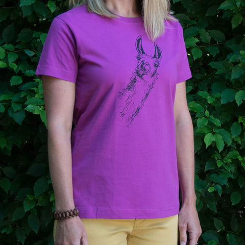 Llama T-shirt, screen printed with eco-friendly waterbased inks, adult sizes