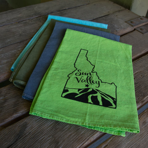 Sun Valley Idaho Screen Printed Tea Towel, flour sack towel