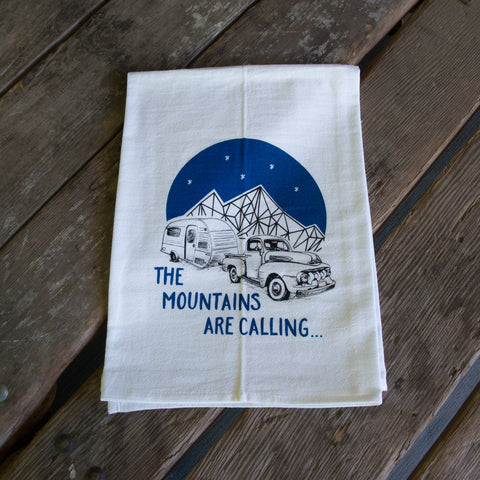 The Mountains are Calling Screen Printed Tea Towel, flour sack towel