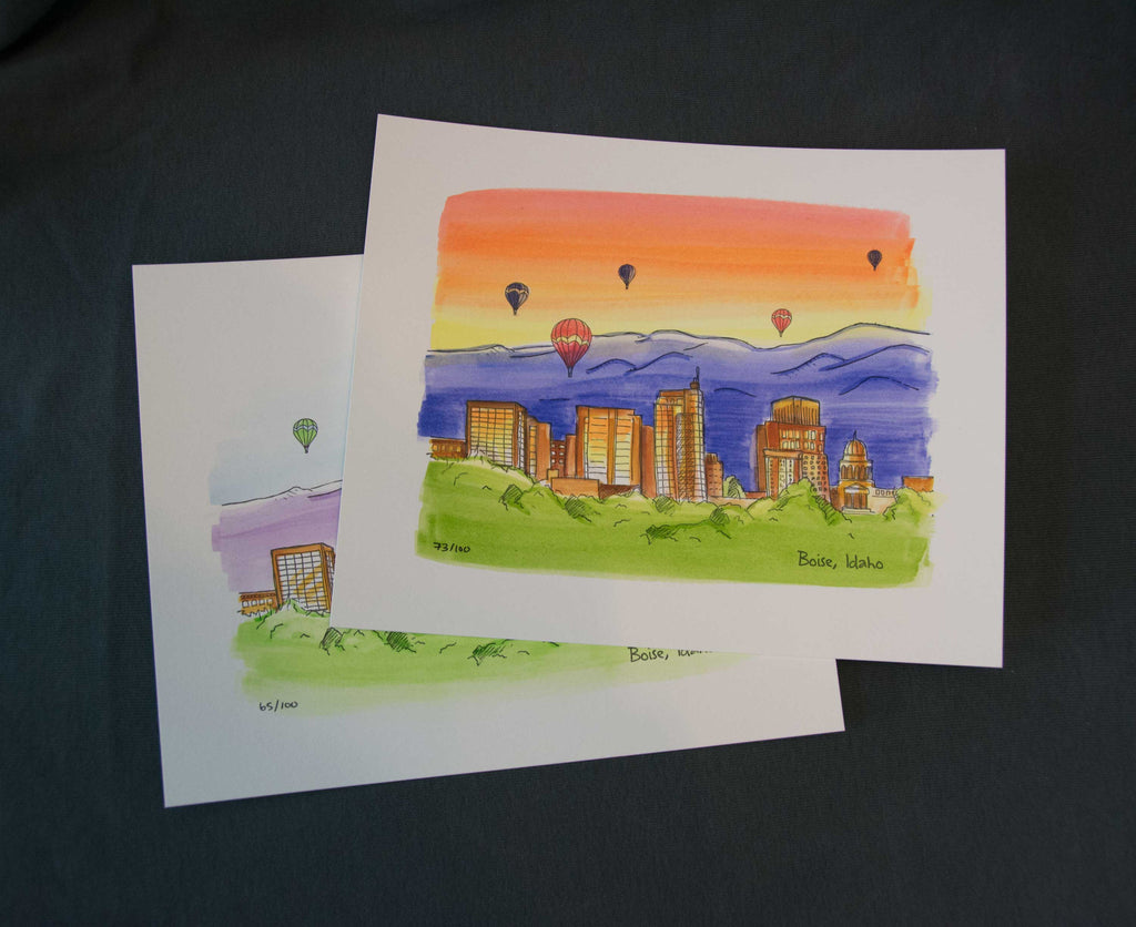 Boise Skyline letterpress + watercolor art print, eco friendly