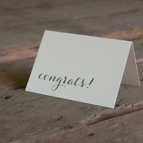 Congrats letterpress cards, Eco friendly