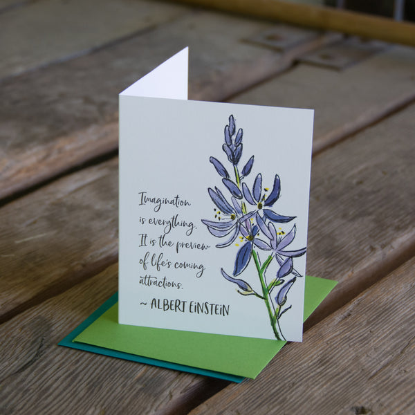 Albert Einstein quote card, camus wildflower quote, letterpress printed card. Eco friendly