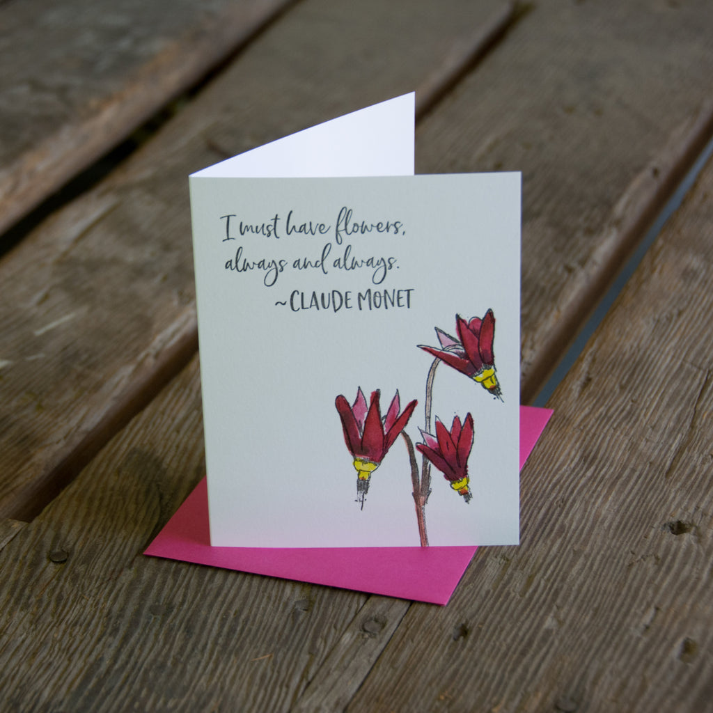 Claude Monet quote card, shooting star wildflower quote, letterpress printed card. Eco friendly