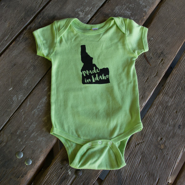 Made in Idaho Onesie, eco-friendly waterbased inks