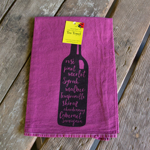 Hand dyed Wine Bottle Screen Printed tea towel, flour sack dish towel