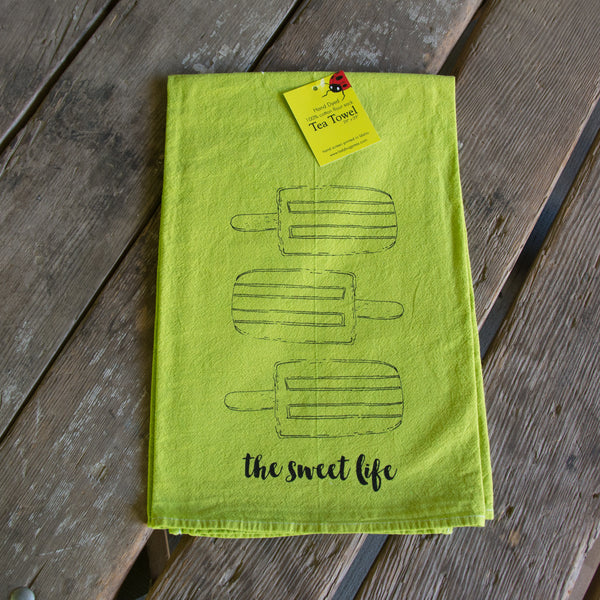 Hand dyed Popsicle Screen Printed tea towel, flour sack dish towel