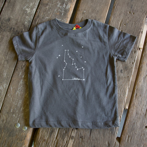 Screen Printed Idaho Constellation T-shirt, eco-friendly waterbased inks, youth sizes