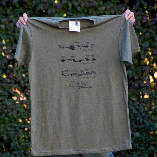 Idaho Mountain Ranges T-shirt, screen printed with eco-friendly waterbased inks, adult sizes