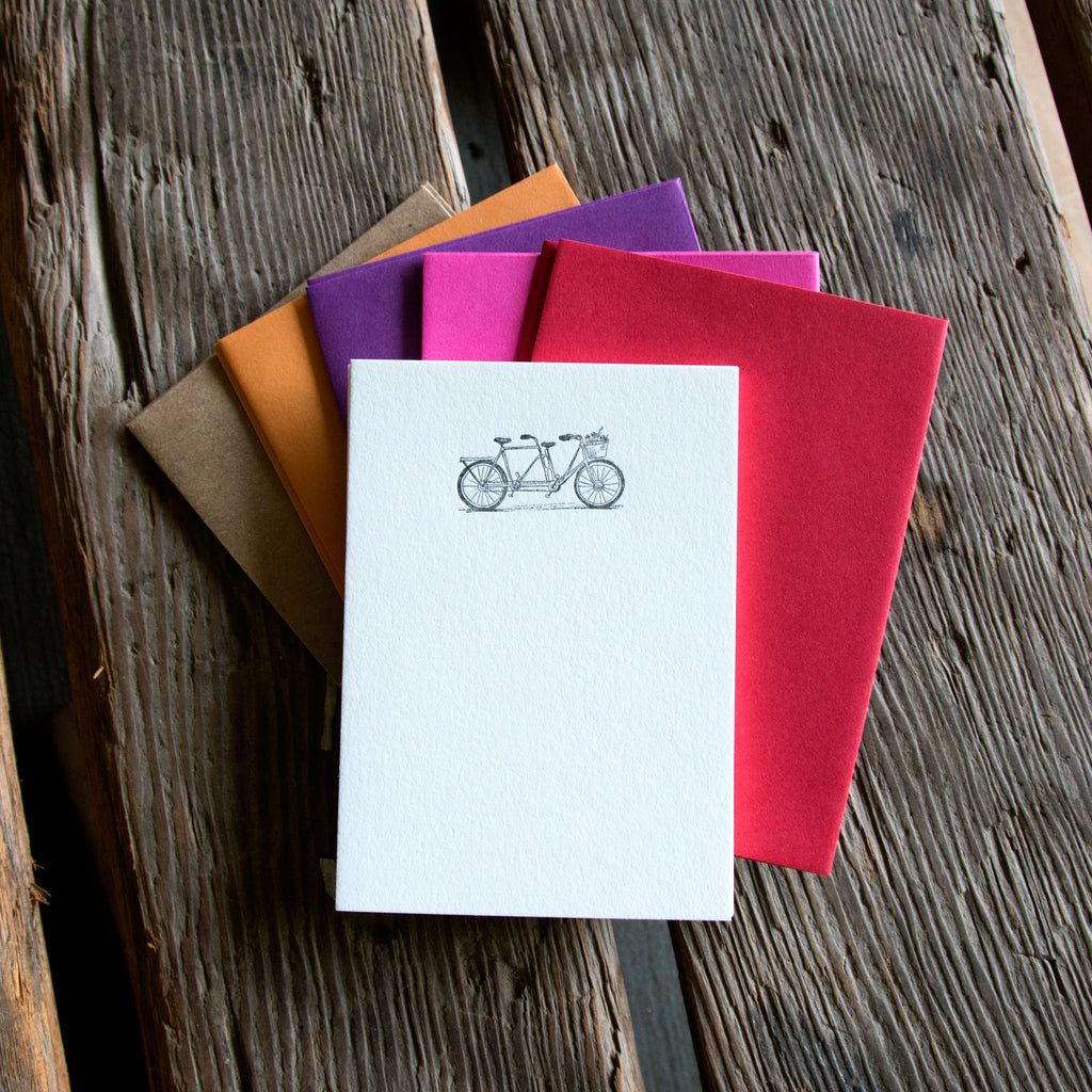 Love Tandem Bike Stationery Set, 10 pack, letterpress printed eco friendly.