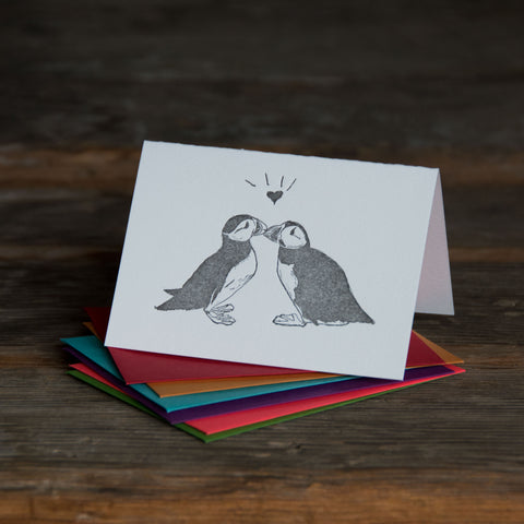 Puffins card, love birds illustration letterpress printed