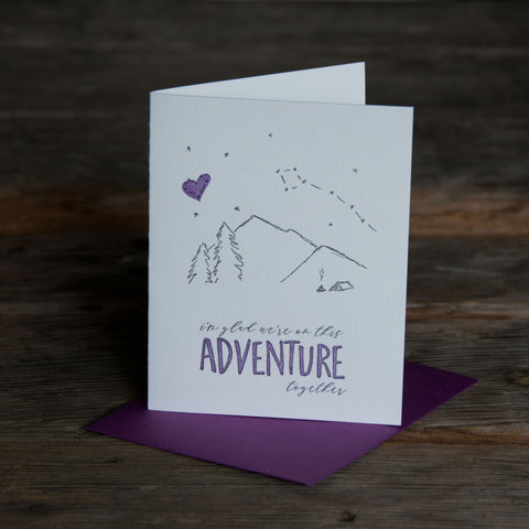 Adventure together, tent and starry sky illustration letterpress eco friendly