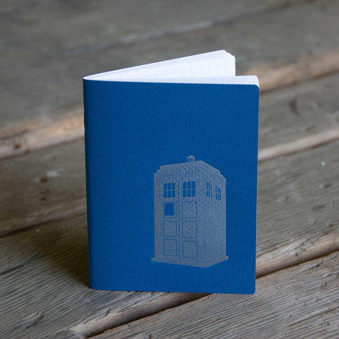 Tardis Notebook, hand drawn and staple bound, letterpress printed eco friendly