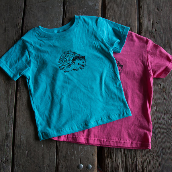 Hedgehog Kids Shirt, eco-friendly waterbased inks, toddler sizes