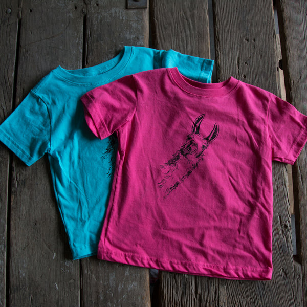 Llama Kids Shirt, eco-friendly waterbased inks, toddler sizes