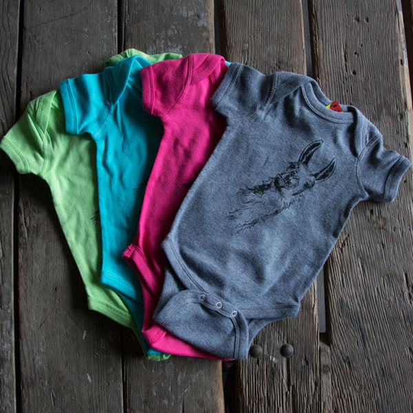 Llama onesie, eco-friendly waterbased inks