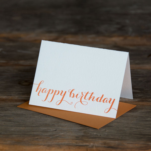 happy birthday typography letterpress printed card. Eco friendly