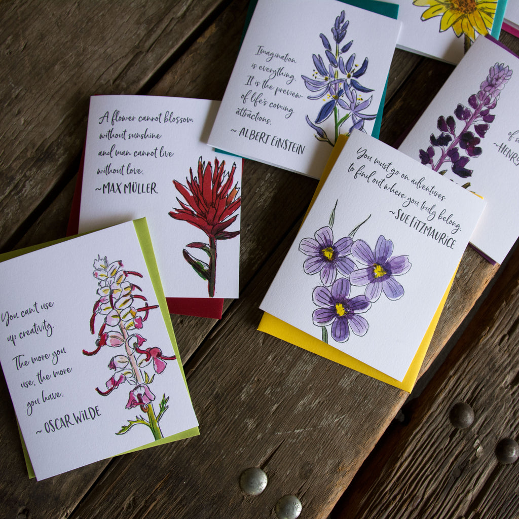 Wildflower cards boxed set, letterpress + watercolor card. Eco friendly