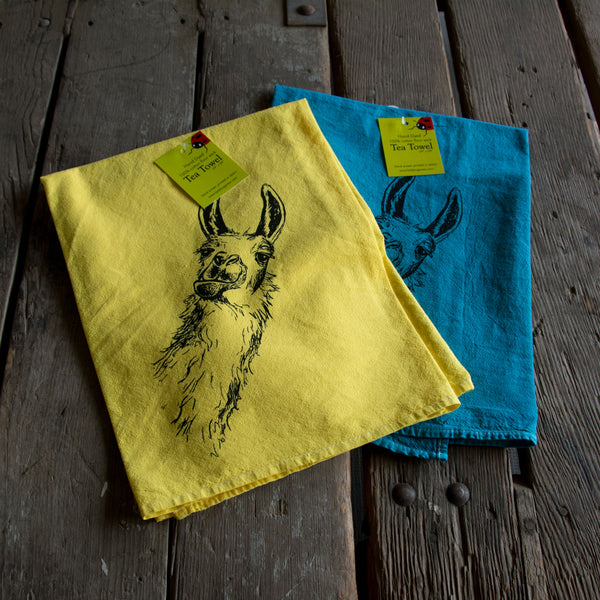 Hand dyed Llama Screen Printed tea towel, flour sack towel