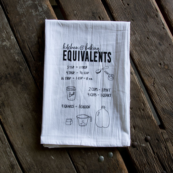 Baking Equivalents Screen Printed Tea Towel, flour sack towel