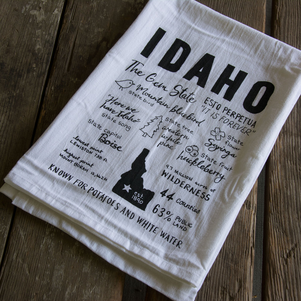 Idaho Facts Tea Towel, Hand drawn and Screen Printed flour sack towel