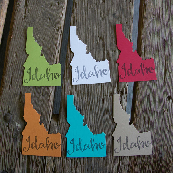 Idaho shape cards, on colorful paper