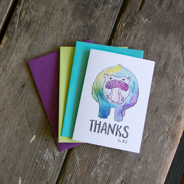 Thanks a ton hippo, letterpress printed card. Eco friendly