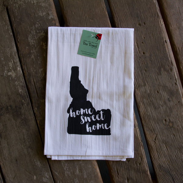 home sweet home Idaho Tea Towel, Hand drawn and Screen Printed flour sack towel