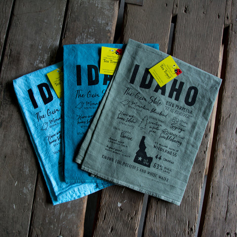 Dyed Idaho Facts Tea Towel, Hand drawn and Screen Printed flour sack towel