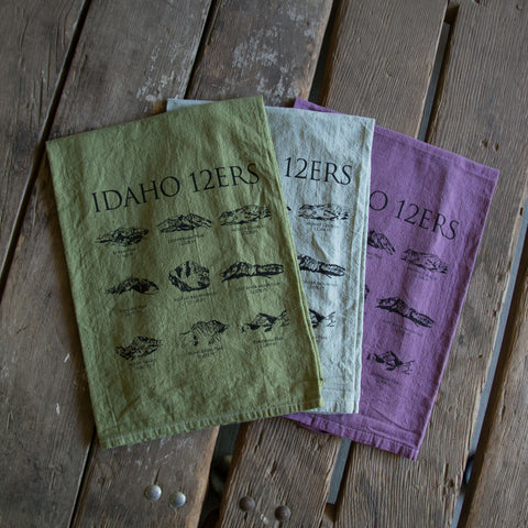Hand dyed 12ers Idaho Mountains Peaks Screen Printed Tea Towel, flour sack towel