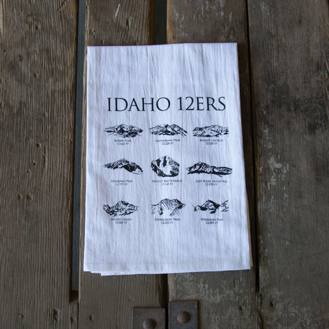 12ers Idaho Mountains Screen Printed Tea Towel, flour sack dish towel