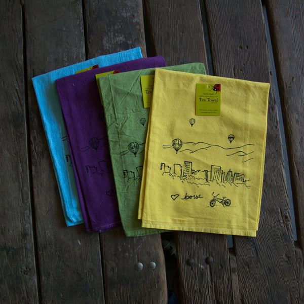 Hand-dyed Boise Balloon Screen Printed Tea Towel, flour sack towel