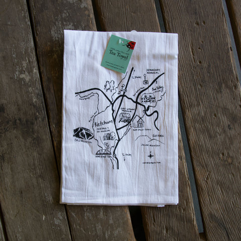 Sun Valley Map Screen Printed Tea Towel, flour sack towel