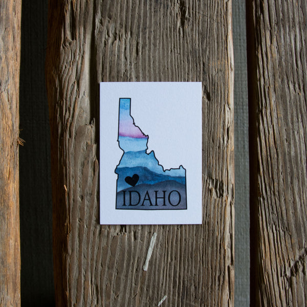 Idaho heart watercolor tags, 6 pack gift tags