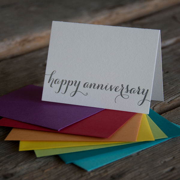 happy anniversary letterpress card, Eco friendly