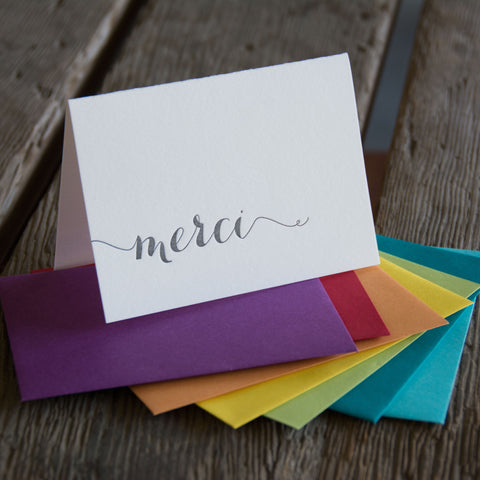 Merci letterpress cards, Eco friendly
