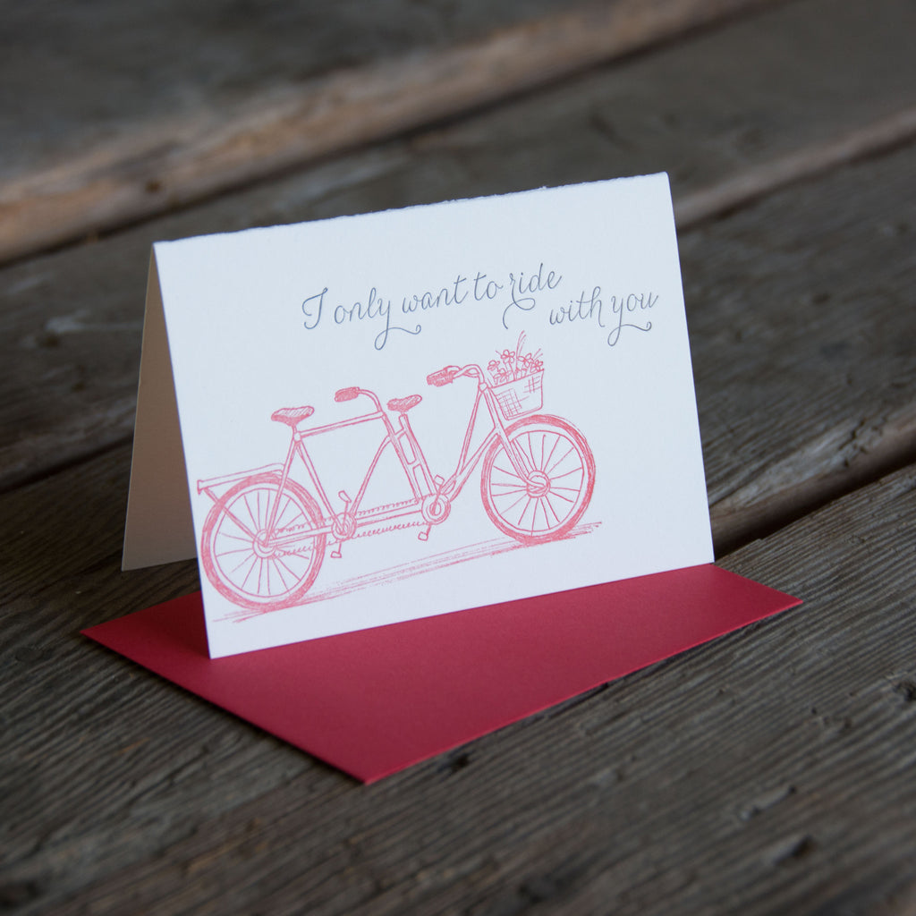 Love Tandem bike letterpress card, eco-friendly perfect way to show your love