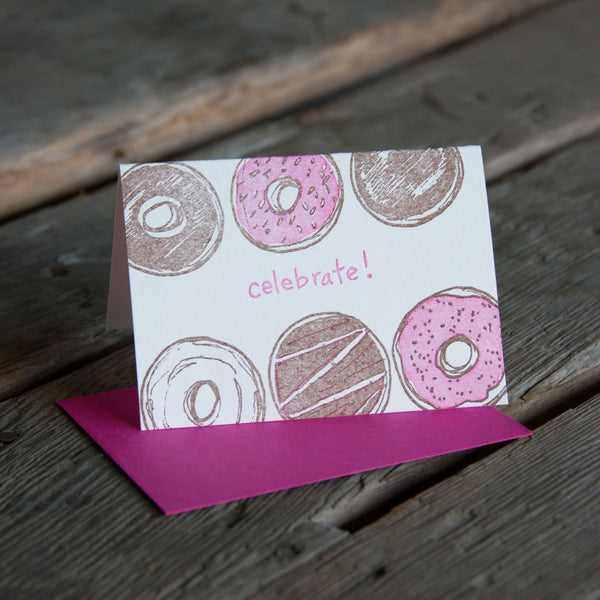 Celebrate Donut card, letterpress printed greeting card