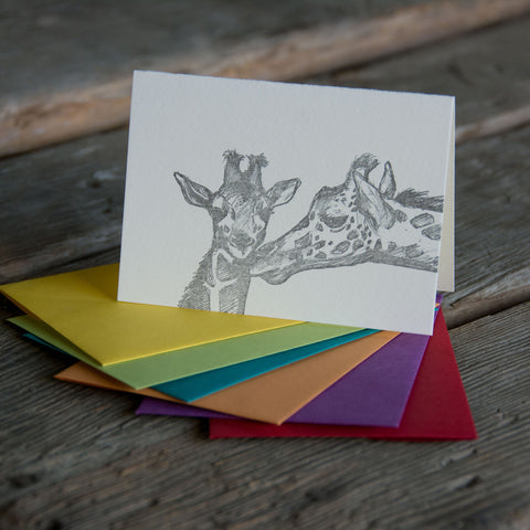 Giraffe Card, letterpress printed hand drawn giraffes eco friendly