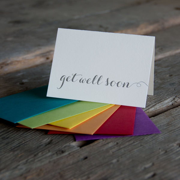 Get well soon letterpress cards, Eco friendly