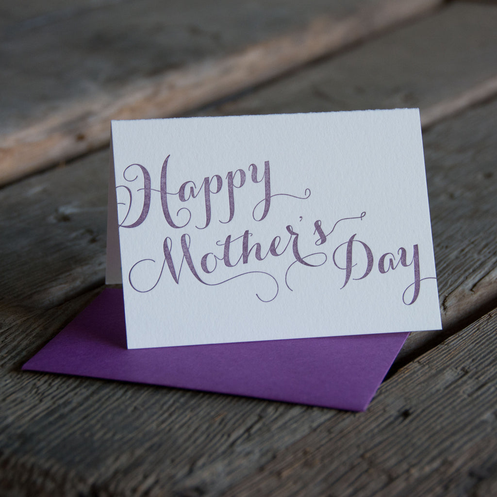 Happy Mothers Day Script lettering, letterpress printed card. Eco friendly