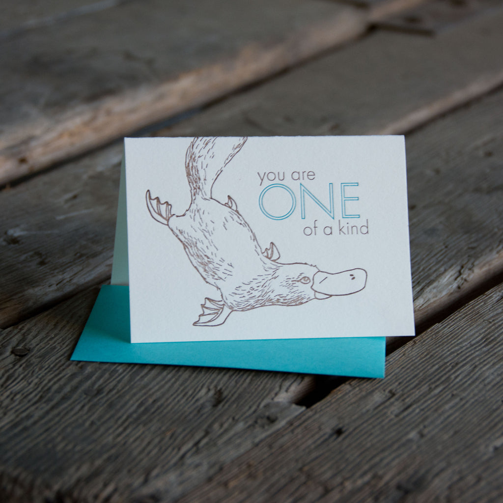 You are one of a kind Platypus, letterpress printed greeting card eco friendly