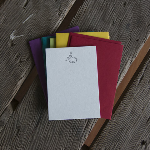 Hedgehog Stationery Set, 10 pack, letterpress printed eco friendly.