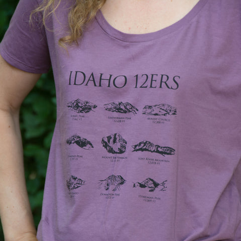 Women's Idaho 12ers Mountain Peaks T-shirt, screen printed with eco-friendly waterbased inks, adult sizes, women
