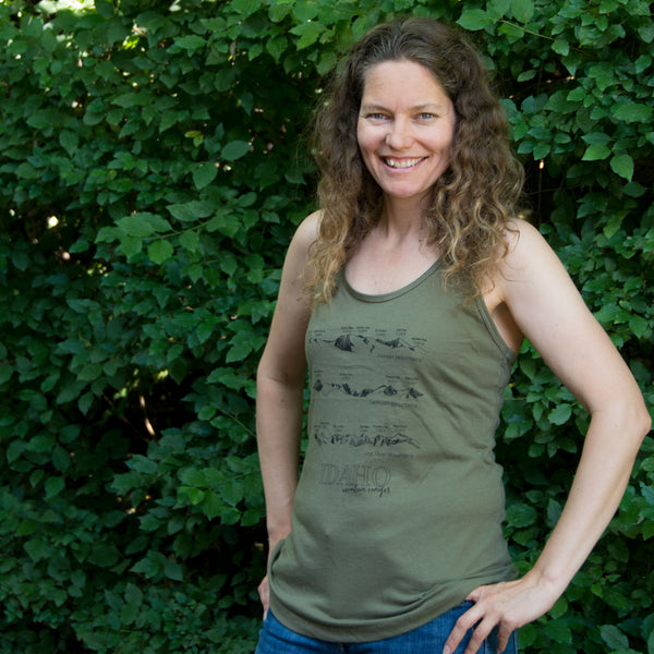 Idaho Mountain Ranges Women's tank top, screen printed with eco-friendly waterbased inks, adult sizes