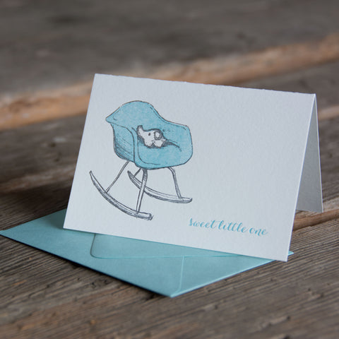 Eames rocker baby card, with little elephant sweet little one, letterpress printed eco friendly