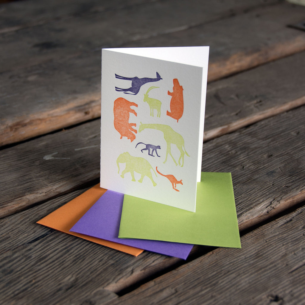 Animal Grid Card, letterpress printed, eco-friendly